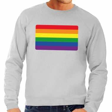 Gay pride regenboog vlag trui grijs heren