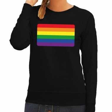 Gay pride regenboog vlag trui zwart dames