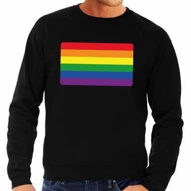 Gay pride regenboog vlag trui zwart heren