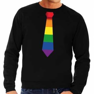 Gaypride regenboog stropdas trui zwart heren