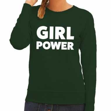 Girl power tekst trui groen dames
