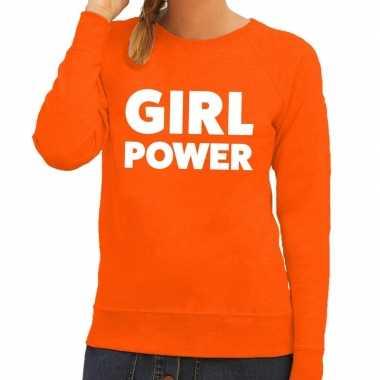 Girl power tekst trui oranje dames