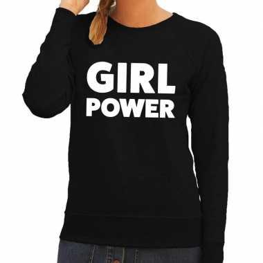 Girl power tekst trui zwart dames