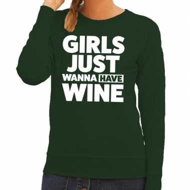 Girls just wanna have wine tekst trui groen dames