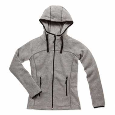 Grijs gemeleerd fleece trui dames