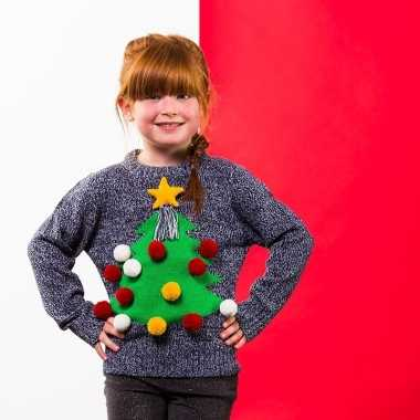 Grijze kerst trui d kerstboom kinderen