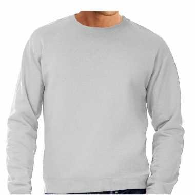 Grijze trui / sweatshirt trui grote maat ronde hals heren