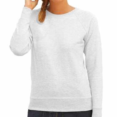 Grijze trui / sweatshirt trui raglan mouwen ronde hals dames
