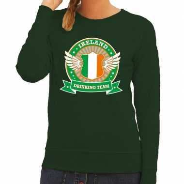 Groen ireland drinking team trui dames