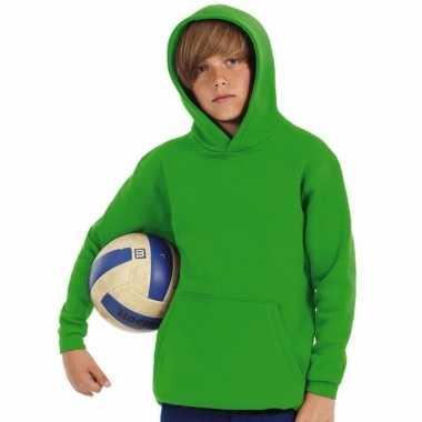 Groene katoenmix trui met capuchon voor jongens