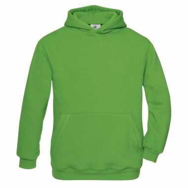 Groene katoenmix trui met capuchon voor meisjes