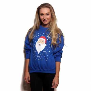 Grote maten blauwe kersttrui kerstman