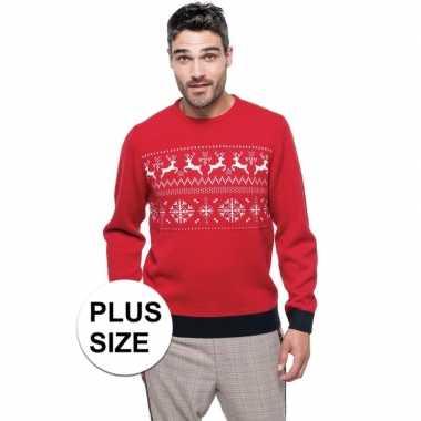 Grote maten foute kersttrui rood noorse heren