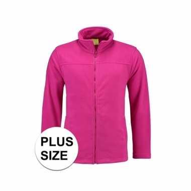 Fleece Trui Dames.Grote Maten Fuchsia Fleece Trui Rits Dames Trui Info