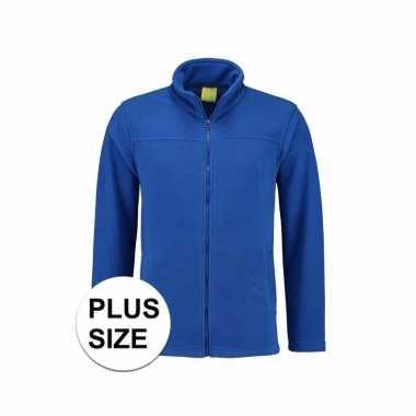Grote maten kobaltblauw fleece trui rits volwassenen