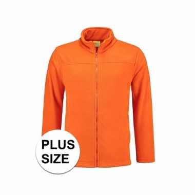 Grote maten oranje fleece trui rits volwassenen