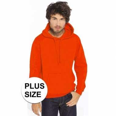 Grote maten oranje trui/trui hoodie heren