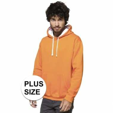 Grote maten oranje/witte trui/trui hoodie heren