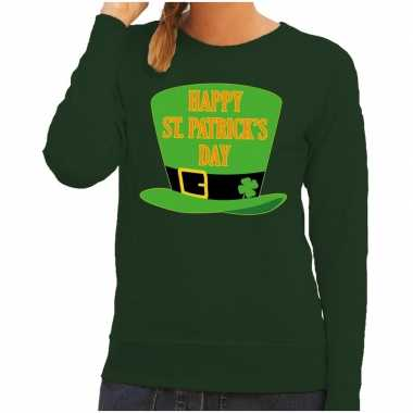 Happy st. patricksday trui groen dames