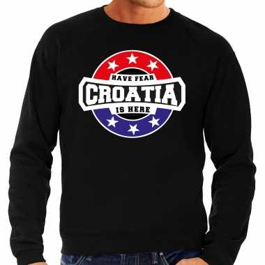 Have fear croatia is here / kroatie supporter trui zwart heren