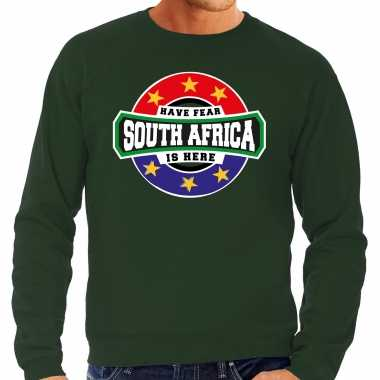 Have fear south africa is here zuid afrika supporter trui groen heren