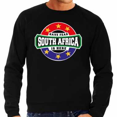 Have fear south africa is here zuid afrika supporter trui zwart heren