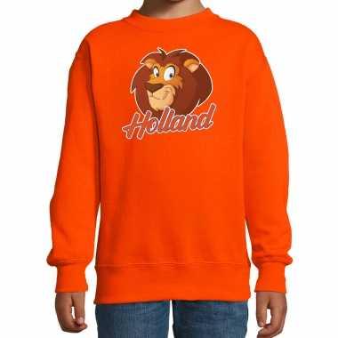 Holland cartoon leeuw oranje trui / trui holland/nederland supporter ek/ wk fan kinderen
