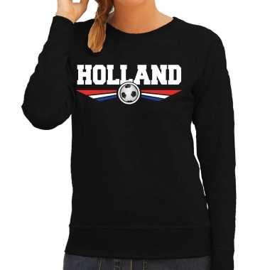 Holland landen / voetbal trui zwart dames