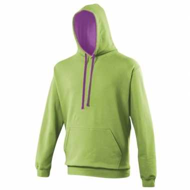 Hooded trui lime paars
