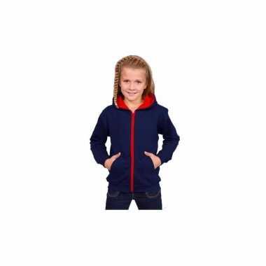 Hooded trui vest navy rood voor meisjes