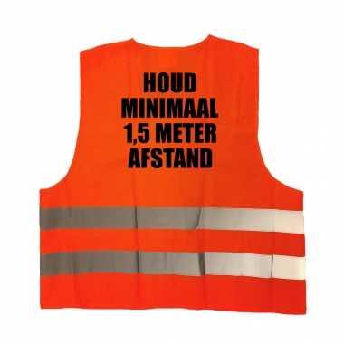 Houd , meter afstand truije / hesje oranje reflecterende strepen volwassenen
