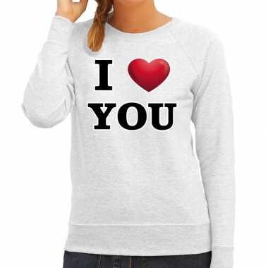 I love you valentijn trui grijs dames