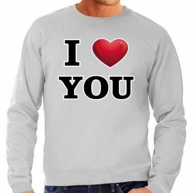I love you valentijn trui grijs heren