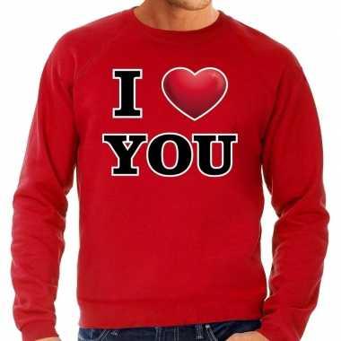 I love you valentijn trui rood heren