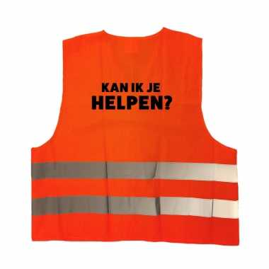 Kan ik je helpen personeel truije / hesje oranje reflecterende strepen volwassenen