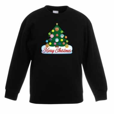 Kersttrui dieren kerstboom zwart kinderen