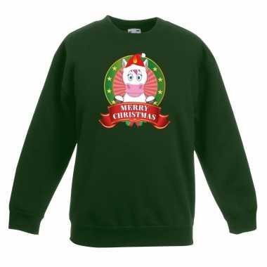 Kersttrui een eenhoorn groen jongens meisjes