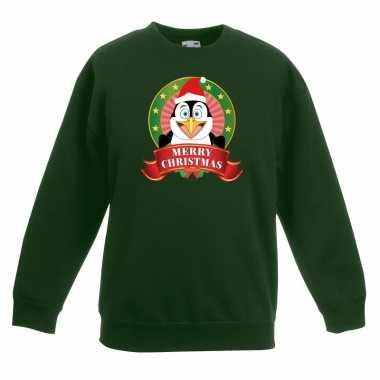 Kersttrui een pinguin groen jongens meisjes