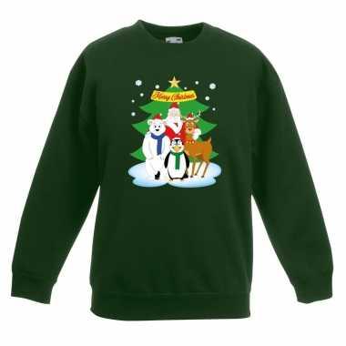 Kersttrui kerst vriendjes groen kinderen