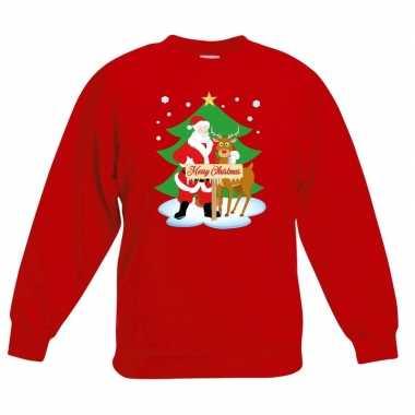 Kersttrui kerstman rendier rood kinderen