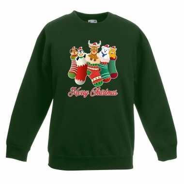 Kersttrui kerstsokken merry christmas groen kinderen
