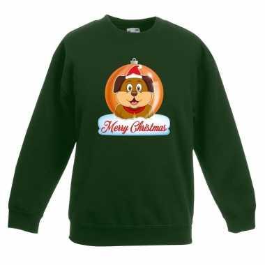 Kersttrui Hond.Kersttrui Merry Christmas Hond Kerstbal Groen Kinderen Trui Info