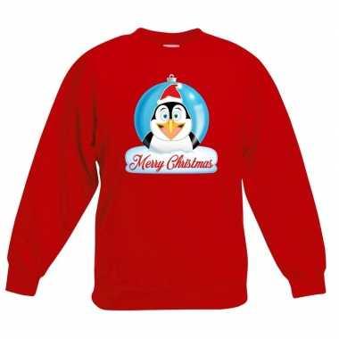 Kersttrui merry christmas pinguin kerstbal rood kinderen