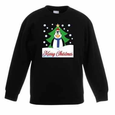 Kersttrui merry christmas pinguin zwart kinderen