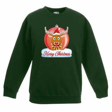 Kersttrui merry christmas rendier kerstbal groen kinderen