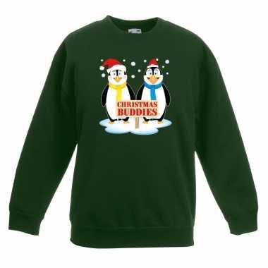 Kersttrui pinguin vriendjes groen kinderen