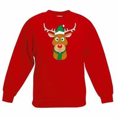 Kersttrui rendier rudolf groene kerstmuts rood kinderen