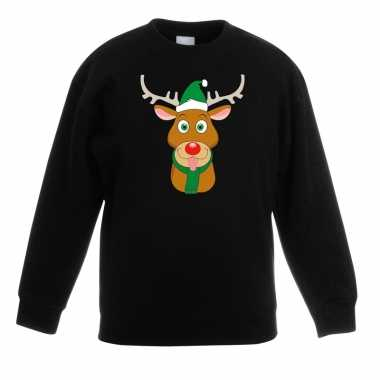Kersttrui rendier rudolf groene kerstmuts zwart kinderen