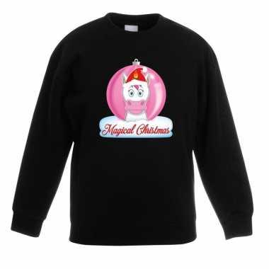 Kersttrui roze eenhoorn kerstbal zwart meisjes