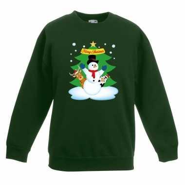 Kersttrui sneeuwpop vriendjes groen kinderen